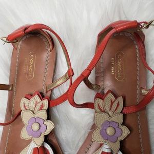 Coach Shoes - Coach sandals | Leather Floral Sandals size 10